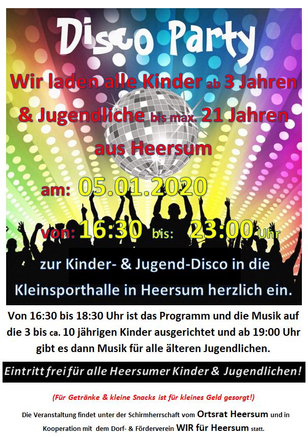 Jugend Disco @ Kleinsporthalle Heersum | Holle | Niedersachsen | Deutschland